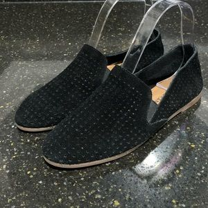 Lucky Brand Caldyn Black Suede Perforated Flats